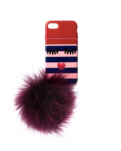 [IPHORIA] monster pink stripe case with pompomiPhone 8/7