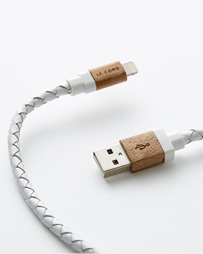 [LE CORD] USB charge white leathe & wood cableMICRO
